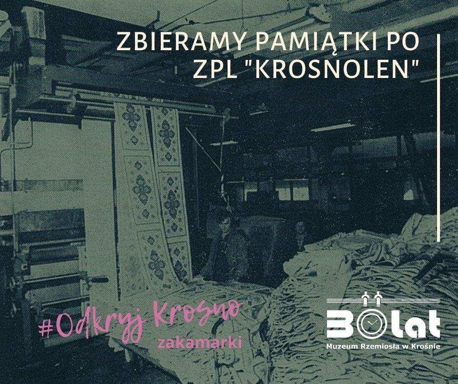 Grafika przedstawiająca archiwalne zdjęcie z zakładów Krosnolen oraz hasło przewodnie: Odkryj Krosno