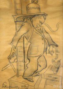 Karykatura Stanisława Kochanka wykonana ołówkiem, przedstawiająca krośnieńskiego krawca