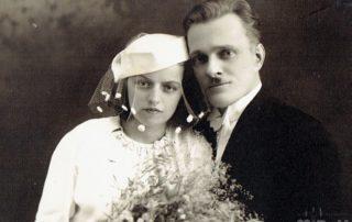 Portret ślubny, fotografia czarno-biała