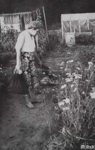 Kobieta przygląda się kwiatom rosnącym na ogródku działkowym
